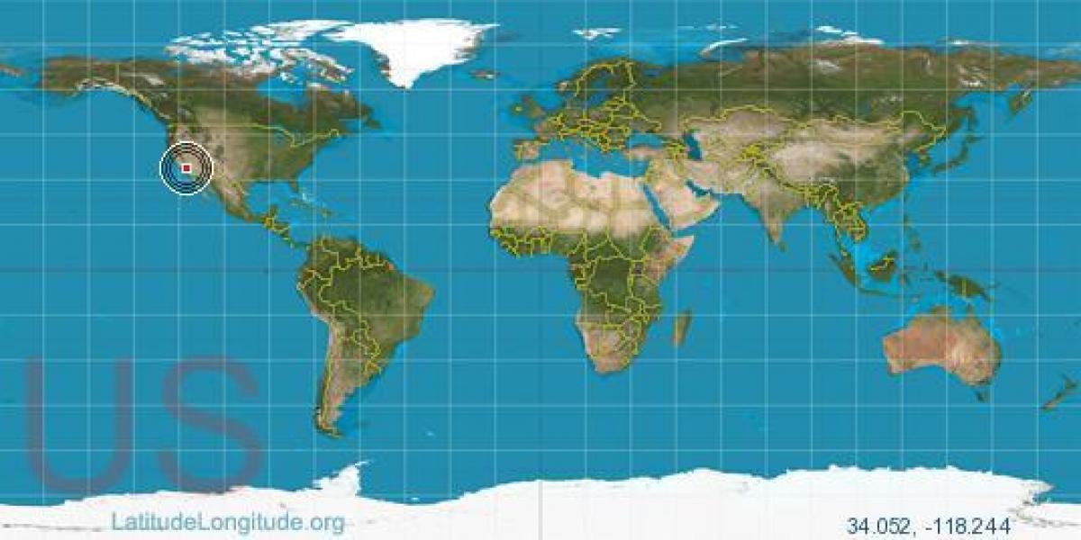 Los Angeles Szerokosc Geograficzna Dlugosc Geograficzna Mapa